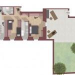 Borgo Faiano_appartamento 1_planimetria - 105 mq con corte esterna di 100 mq
